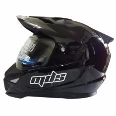 MDS Helm Full Face Motor Cross MDS Super Pro Supermoto Double Visor Yamaha Ninja Honda Black Met Glossy - Hitam