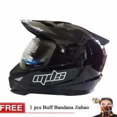 MDS Helm Full Face Motor Cross MDS Super Pro Supermoto Double Visor Yamaha Ninja Honda warna Black Met Glossy GRATIs BUFF BANDANA RANDOM - Hitam