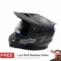 MDS Helm Full Face Motor Cross MDS Super Pro Supermoto Double Visor Yamaha Ninja Honda warna Doff GRATIS Buff Bandana Jiabao Random- Hitam