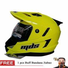 MDS Helm Full Face Motor Cross MDS Super Pro Supermoto Double Visor Yamaha Ninja Honda warna Yellow Fluo Gratis Buff Bandana Jiabao Random - Kuning