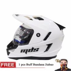 MDS Helm Full Face Motor Cross MDS Super Pro Supermoto Double Visor Yamaha Ninja Honda White Solid GRATIS Buff Bandana JIABAO Random - Putih