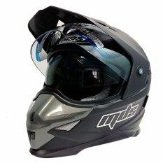 MDS Helm Full Face Motor Cross MDS Super Pro Supermoto Double Visor Yamaha Ninja Honda warna Doff - Hitam - Free 1 Helm MDS