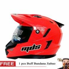 MDS Helm Full Face Motor Cross MDS Super Pro Supermoto Double Visor Yamaha Ninja Honda warna Red Fluo GRATIS Buff Bandana Jiabao Random - Merah