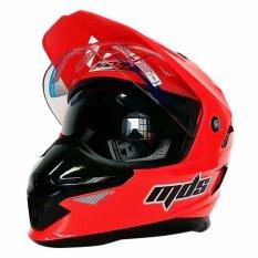 MDS Helm Full Face Motor Cross MDS Super Pro Supermoto Double Visor Yamaha Ninja Honda warna Red Fluo GRATIS Buff Bandana Jiabao Random - Merah - Free 1 Helm MDS