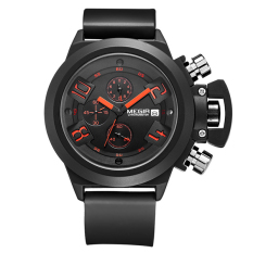 Jual Megir 2002 Casual Style Watch Hitam Strap Rubber Megir Asli