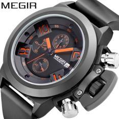 Jual Megir 2002 Jam Tangan Pria Quartz Watch 30M Water Resistance Sillicon Rubber Strap Chronograph Chrono Aktif Hitam