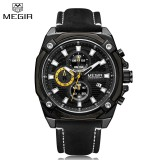 Megir 2054 Men Casual Waterproof Watch Military Chronograph Sport Multifunctions New Style Leather Strap Elegant Clock Intl Murah