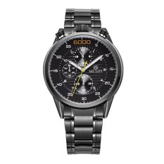 Cuci Gudang Megir 3005G Men Quartz Watch 6 Hand Chronograph Leather Stainless Steel Intl