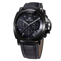 Beli Megir 3006 30M Water Resistant Male Quartz Watch Black Leather Black Intl Tc Online