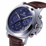 Jual Megir 3006 Jam Tangan Pria Chronograph Genuine Leather Band Quartz Luxury Branded