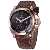 Spesifikasi Megir 3006G Men Leather Analog Quartz Wrist Watch Intl Terbaru