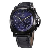 Jual Megir Jam Tangan Pria Chronograph Genuine Leather Band Quartz Luxury Ml 3006 G Bk 2 Blue Black Di Bawah Harga