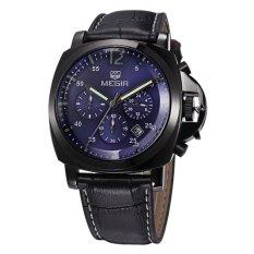 Harga Megir Jam Tangan Pria Chronograph Genuine Leather Band Quartz Luxury Ml 3006 G Bk 2 Blue Black Origin