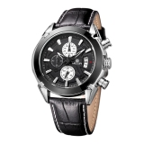 Promo Megir Fashion Kulit Olahraga Quartz Watch Untuk Pria Militer Chronograph Wrist Watches Pria Gaya Angkatan Darat Hitam Akhir Tahun