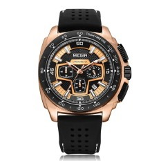 MEGIR Fashion Sport Silicone Men Watches 3ATM Water-resistant Quartz Luminous Man Wristwatch Relogio Musculino Chronograph Calendar - intl