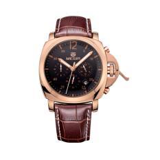 Toko Megir Jam Tangan Pria Chronograph Genuine Leather Band Quartz Luxury Ml 3006 Grebn 1N0 Black Gold Brown Dekat Sini
