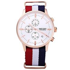 Spek Megir Jam Tangan Pria Leather Band Quartz With Three Working Sub Dials Date Function Wristwatch Ml 2011 Gbe We Rd 7N0 Gold Blue Red Jawa Barat