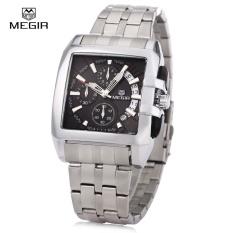 Toko Megir M2018 Men Square Dial Jam Quartz Chronograph Tahan Air Kalender Arloji Intl Megir