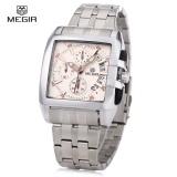 Spesifikasi Megir M2018 Men Square Dial Quartz Watch Chronograph Tahan Air Kalender Arloji Intl Yang Bagus