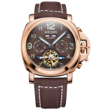 Jual Megir Mens Tourbillon Mewah Fashion Kulit Asli Chronograph Fungsi Mekanik Watch Rose Gold Online