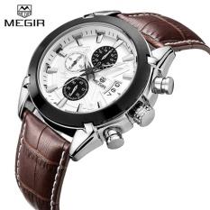 Spesifikasi Megir Original Men Quartz Watch Brown Leather Band Business Watches Man Clock Chronograph Army Military Watch Sport For Male Intl Paling Bagus