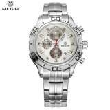 Spesifikasi Megir Asli Quartz Watch Bisnis Stainless Steel Pria Jam Tangan Multifungsi Chronograph Kalender Arloji Ms2019G Intl Lengkap