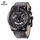 Harga Megir Sport Men Quartz Watch Multifunction Chronograph Fashion Wrist Watches Clock With Leather Strap Intl Asli Megir
