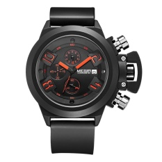 Beli Megir Sport Watch Silicone Analog Display Date Chronograph Quartz Black Murah Tiongkok