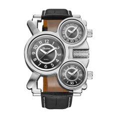 Pria 3 Zona Waktu Mensimulasikan Alloy QUARTZ Sport untuk Oulm Watch (Hitam)-Intl