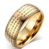 Men S Heart Kitab Suci Buddha Tungsten Cincin Emas Di Tiongkok
