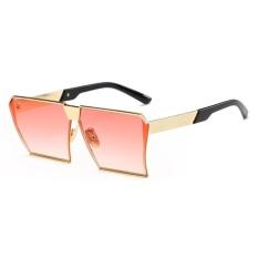 Spek Pria Wanita Sunglasses Square Sunglasses Cerah Warna Retro Bingkai Besar Gold Bingkai Secara Bertahap Film Merah Intl Oem