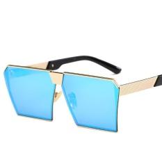 Toko Pria Wanita Sunglasses Square Sunglasses Cerah Warna Retro Bingkai Besar Bingkai Emas Ice Blue Piece Termurah Tiongkok