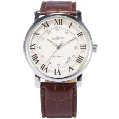 Jual Men Automatic Mechanical Date Roman Brown Leather Band Business Fashion Wrist Watch Pmw099 Jam Tangan Pria Kulit Intl Oem Branded