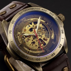 Spesifikasi Men Automatic Mechanical Skeleton Bronze Leather Band Analog Wrist Business Sport Watch Pmw368 Jam Tangan Pria Kulit Intl Murah
