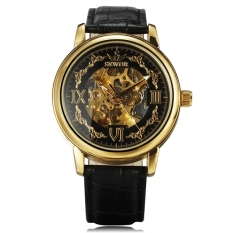 Harga Men Automatic Mechanical Wrist Watch Dengan Pu Band Hitam Golden Paling Murah