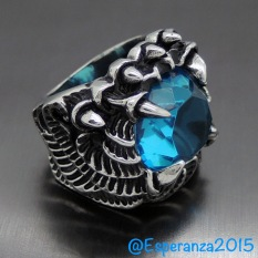 Men - Dragon Claw - Blue Sapphire - Stainless Steel 316L / Cincin Pria