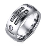 Cuci Gudang Pria Fashion Punk Yang Cincin Batu Cincin Stainless Steel With Kawat Kubik Zirkonia Perhiasan Pesta Usa Ukuran Internasional