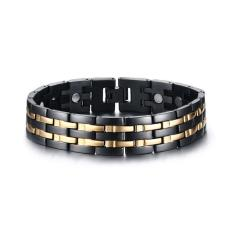 Jual Beli Men Healthy Magnetic Bracelet Gold Plated Energy Stainless Steel Trendy Jewelry Intl Tiongkok