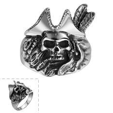 Pria Tengkorak Bajak Laut Titanium Steel Cincin Punk Gothic
