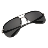 Toko Men Polarized Metal Frame Round Casual Outdoor Sunglasses Gray Black Oem