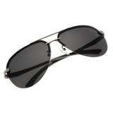 Beli Men Polarized Metal Frame Round Casual Outdoor Sunglasses Gray Black Seken