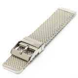 Pria Silver Watch Strap Band Shark Mesh Stainless Steel Band Gelang 18 20 22Mm Asli