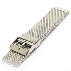 Ulasan Mengenai Pria Silver Watch Strap Band Shark Mesh Stainless Steel Band Gelang 18 20 22Mm