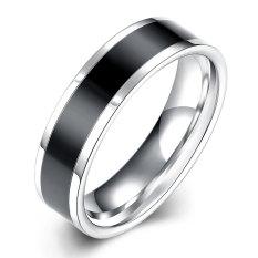 Pria Titanium Steel Cincin Pernikahan Band Hitam Perak-Intl