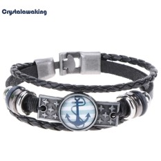 Pria Wanita Charm Delapan Diagram Gelang Perhiasan Multilayer Leather Bangle (Hitam)-Intl