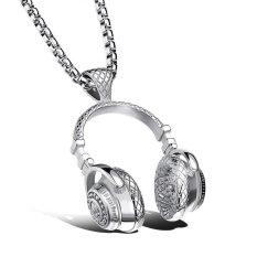 Promo Pria Wanita Stainless Steel Musik Headphone Liontin Kalung Intl Tiongkok