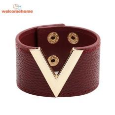 Men Women Wide Leather Bracelet V Word Alloy Bracelet Bangle Hand Jewelry - intl