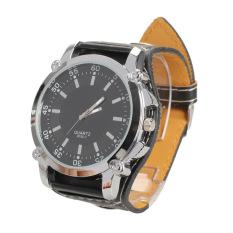 Jual Men Wrist Watch Quartz Tepat Kulit Sintetis Watchband Layak Hitam Di Tiongkok