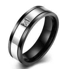 Pria Zirkon Cincin Baja Titanium Cincin Perak Hitam-ต่างประเทศ
