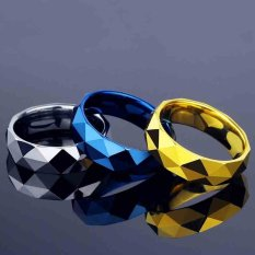 Pria Cadangan Batubara Berbentuk Berlian Cool Cincin Bagus Sebagai Hadiah Fashion Perhiasan untuk Pria (Biru) -Intl
